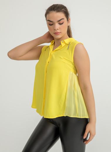 Foremia Arkası Şifon Piliseli Yaka Detay Gömlek Sarı